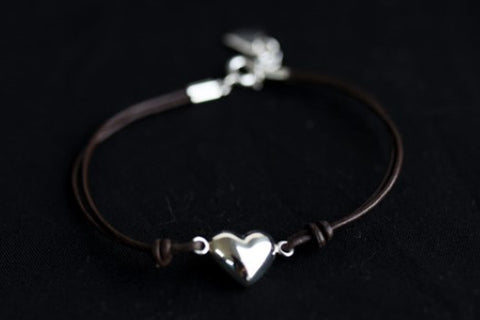 Leather Bracelet with Heart - 925 Sterling Silver (Also available in Light Green)