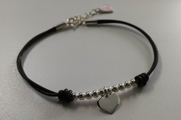 Leather Bracelet with Heart and Silver Stones – 925 Sterling Silver
