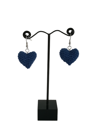 Crochet Heart Earrings Blue