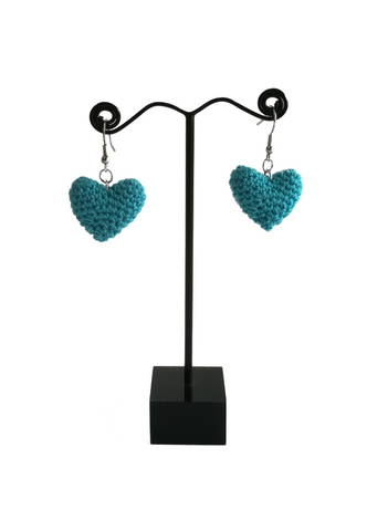 Crochet Heart Earrings Light Blue