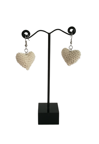 Crochet Heart Earrings White