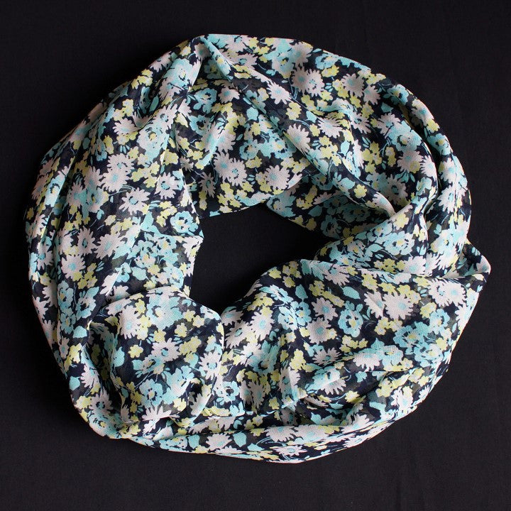 Beautiful Dark Blue Scarf with Turquoise and Yellow Flowers