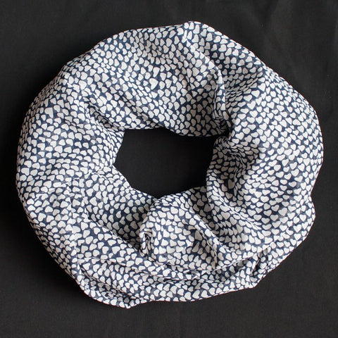 Beautiful Blue Scarf with White Hearts