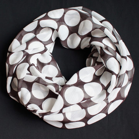 Brown scarf with big white dots (9187)