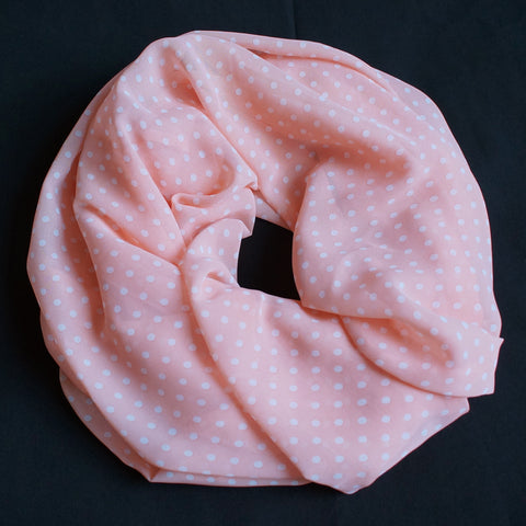 Light coral scarf with light dots (9192)