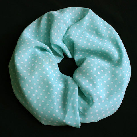 Classic light turquoise colored scarf with dots (9193)