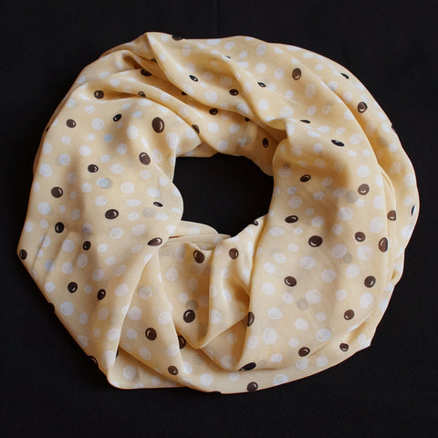 Sand colored Scarf with black and sand colored dots (9199)