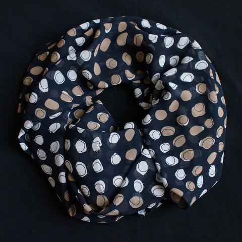 Black Scarf with big dots in different colors (9200)