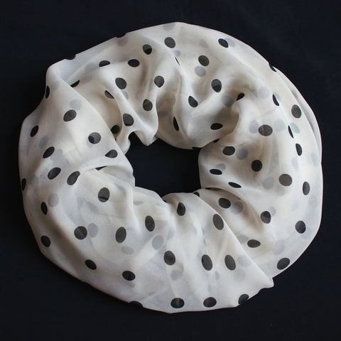 Light cream colored scarf with black dots (9206)