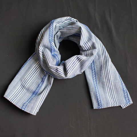 Winter scarf for Him or Her with a Blue Stripe Pattern