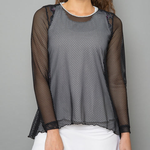 All Season Sheer Pullover Top (black)