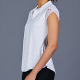 Boho Luxe Tulip-Sleeve Collar Top (white)