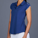 NY Square Tulip-Sleeve Collar Top (Navy)