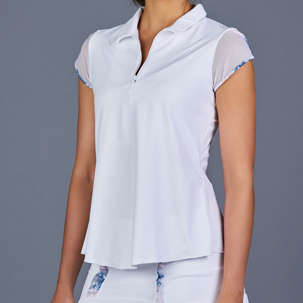 NY Square Tulip-Sleeve Collar Top (white)