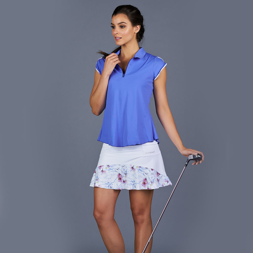 Spring Marble Tulip-Sleeve Collar Top (blue)