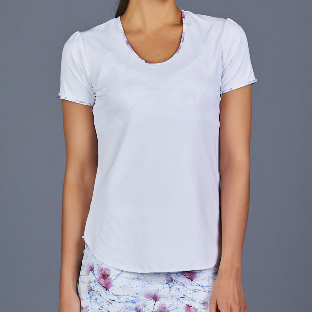 Spring Marble T-Shirt Top (White)