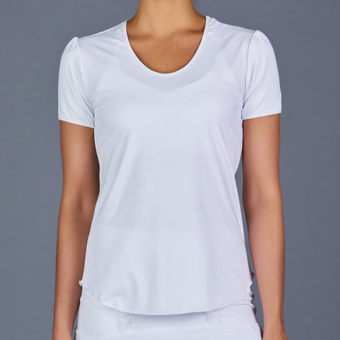 Rhapsody Cap-Sleeve Collar Top (white)