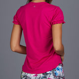 City Etch Gathered-sleeve Tee (fuchsia)