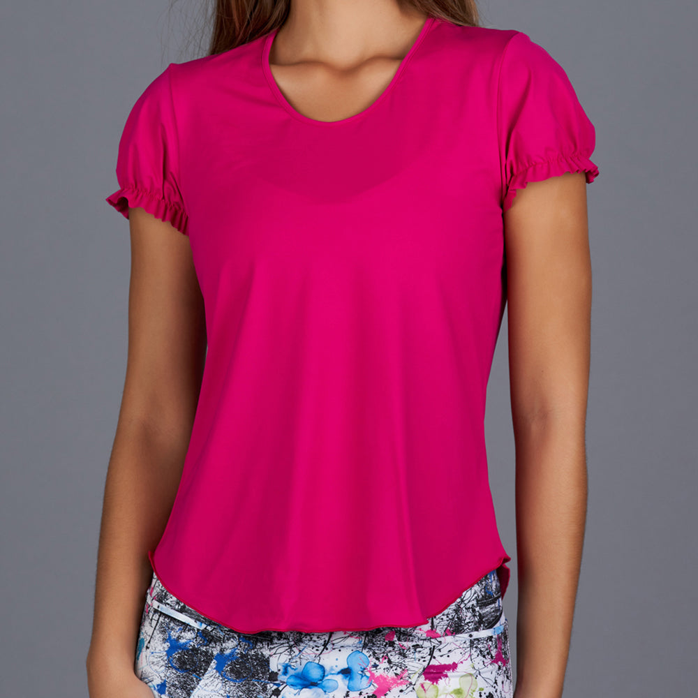 Shabby Chic Gathered-sleeve Tee (fuchsia)