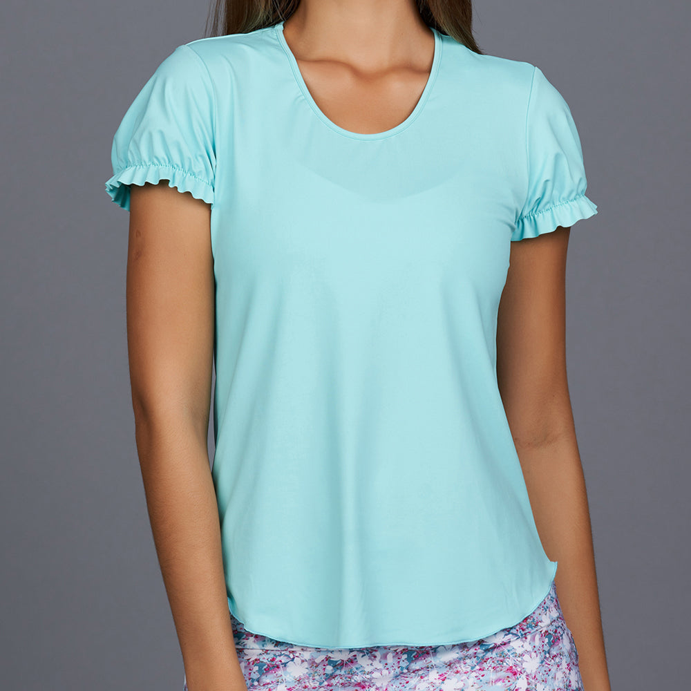 Shabby Chic Gathered-sleeve Tee (turquoise)