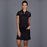 All Season Short-Sleeve Collar Top (black)
