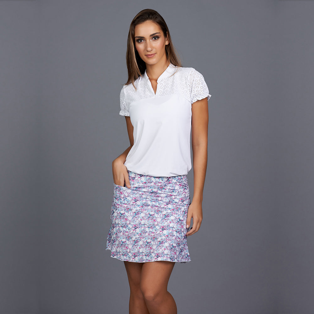 All Season Short-Sleeve Collar Top (white)