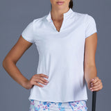 Sisily Cap-Sleeve Collar Top (white)