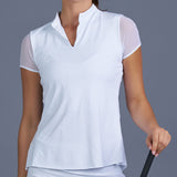 Club Whites Cap-Sleeve Collar Top