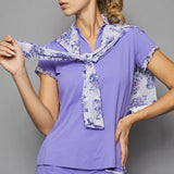 Serenity Cap-Sleeve Collar Top (lilac)