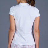 Rust Cap-Sleeve Collar Top (white)