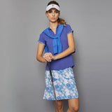 Scotia Cap-Sleeve Collar Top (blue)