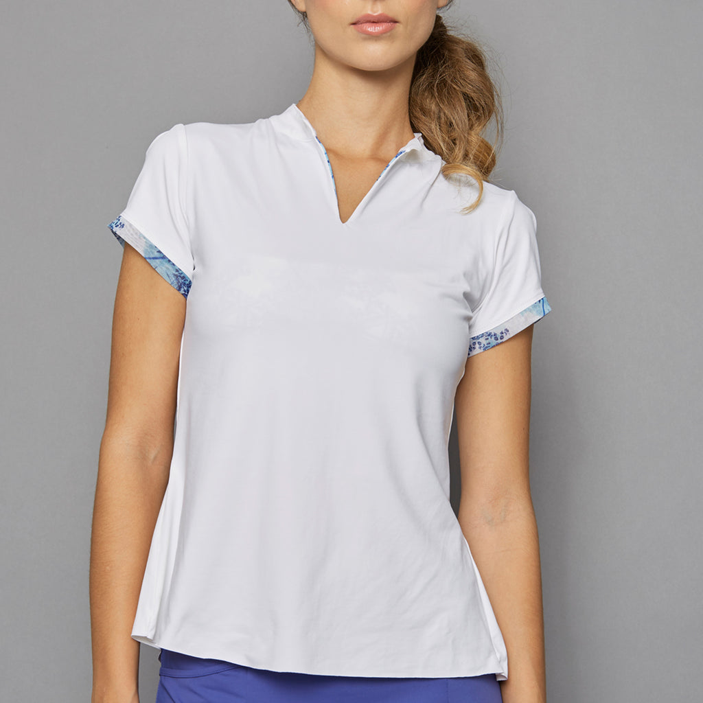 Scotia Cap-Sleeve Collar Top (white)
