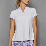 Serenity Cap-Sleeve Collar Top (white)