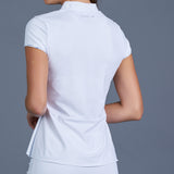Blues Cap-Sleeve Collar Top (white)