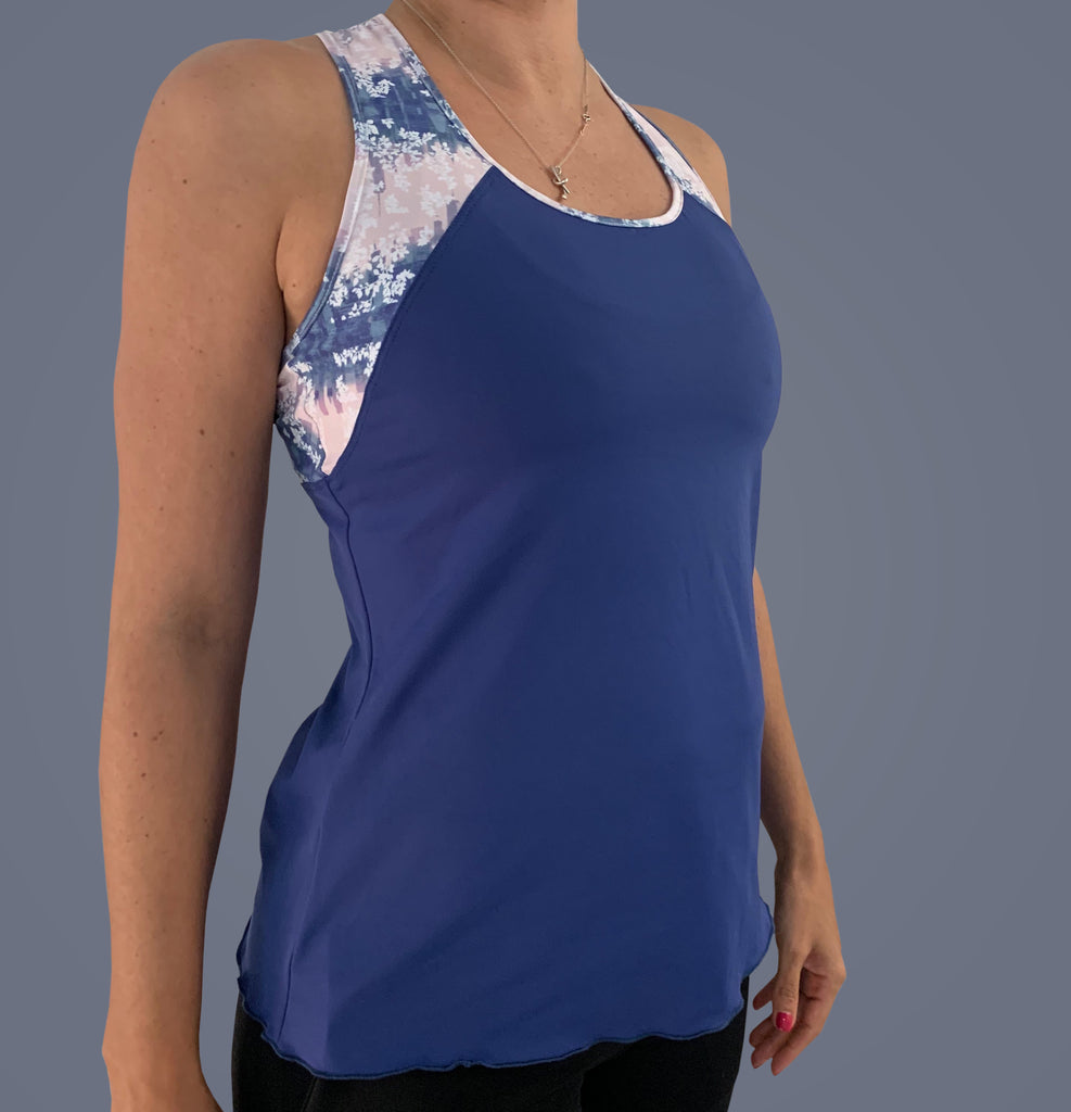 NY Square Racerback Top (navy/print)