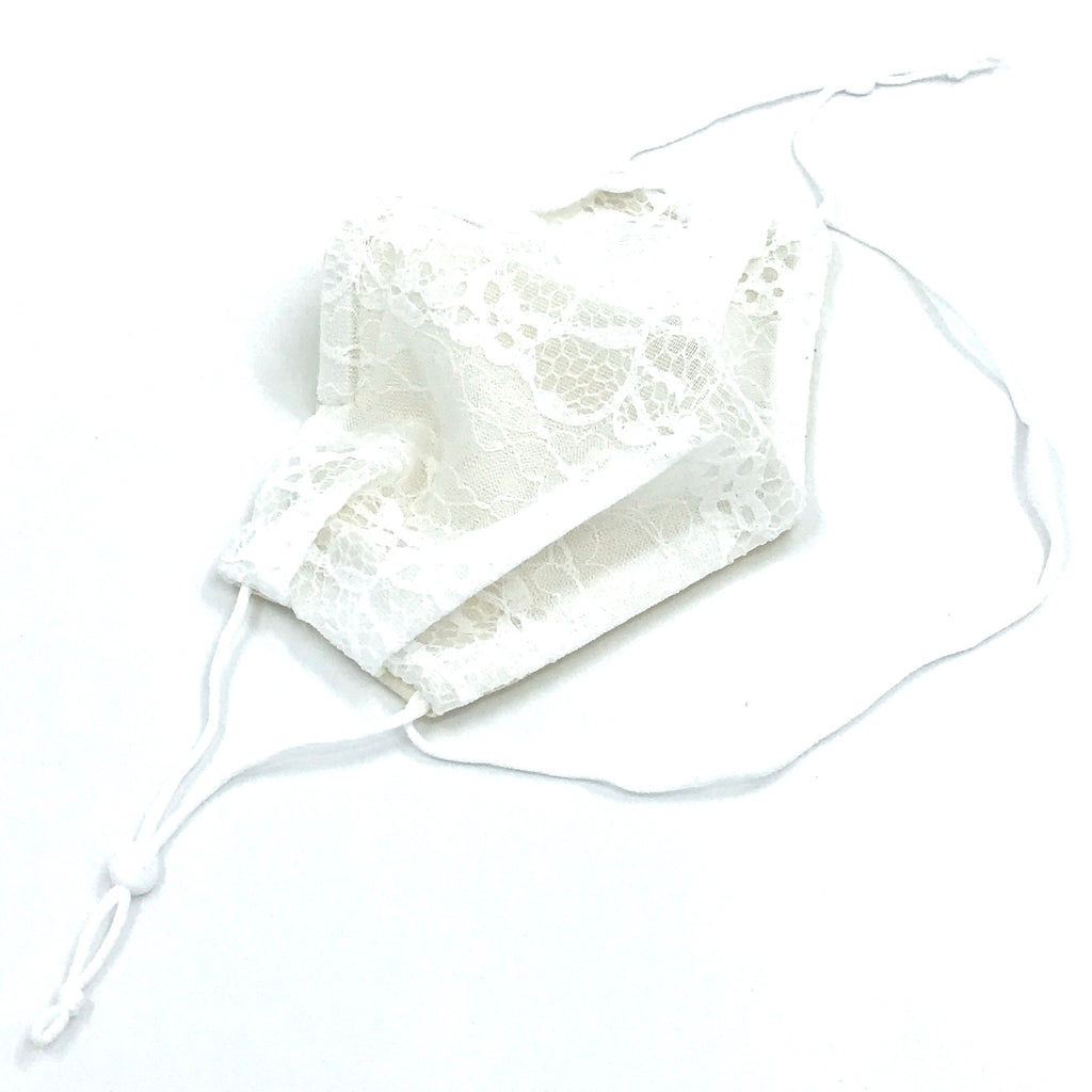Ear-Loop Face Cover - White Lace