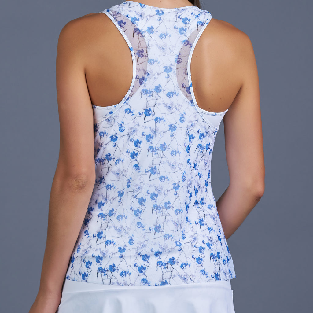 Blues Mesh Layered Racerback Top (print)