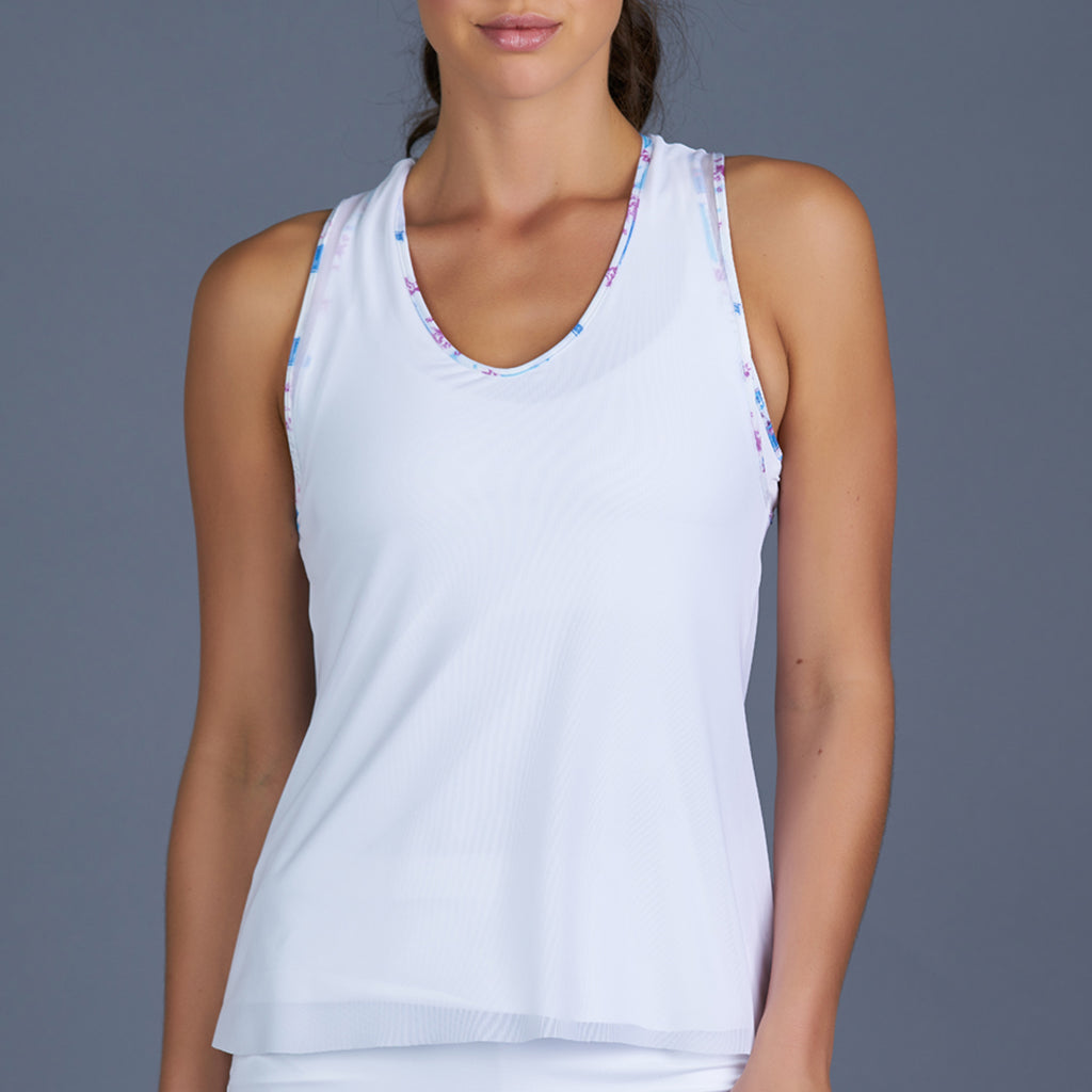 Sisily Mesh Layered Racerback Top (white)