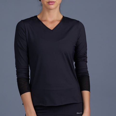 Blues Cap-Sleeve Collar Top (black)