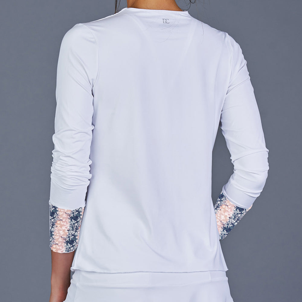 NY Square Long-Sleeve Top (white/print)