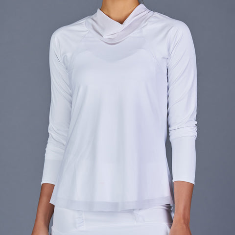 Spring Marble Tulip-Sleeve Collar Top (white)