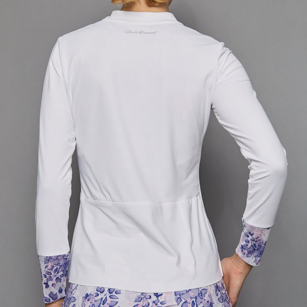 Serenity Long-Sleeve Collar Top (white)