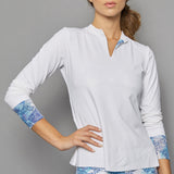 Scotia Long-Sleeve Collar Top (white)
