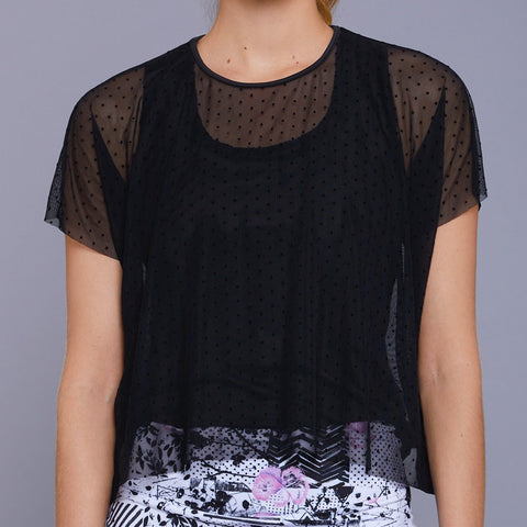 Jade Mesh Layer Tee (black)