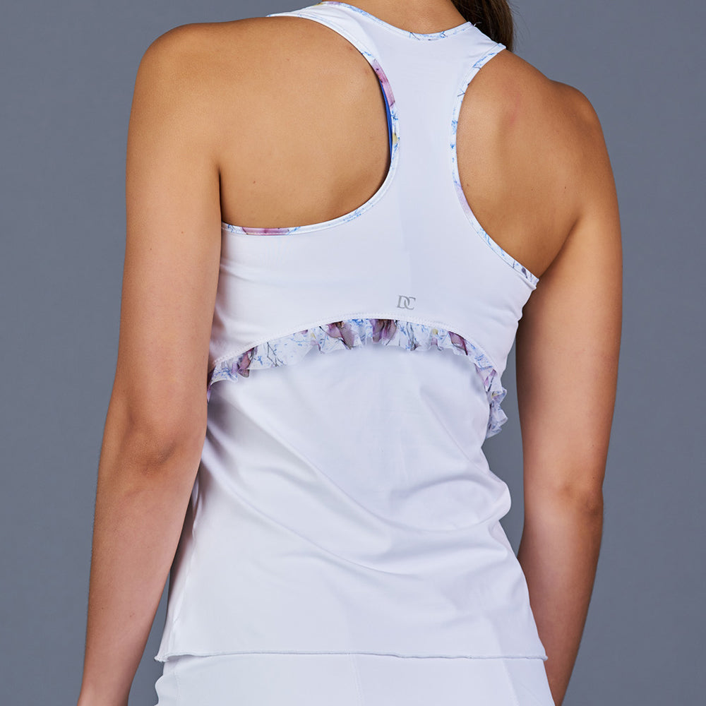 Spring Marble Ruffle Racerback Top (white)