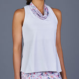 Boho Luxe Cowl-neck Racerback Top (White)