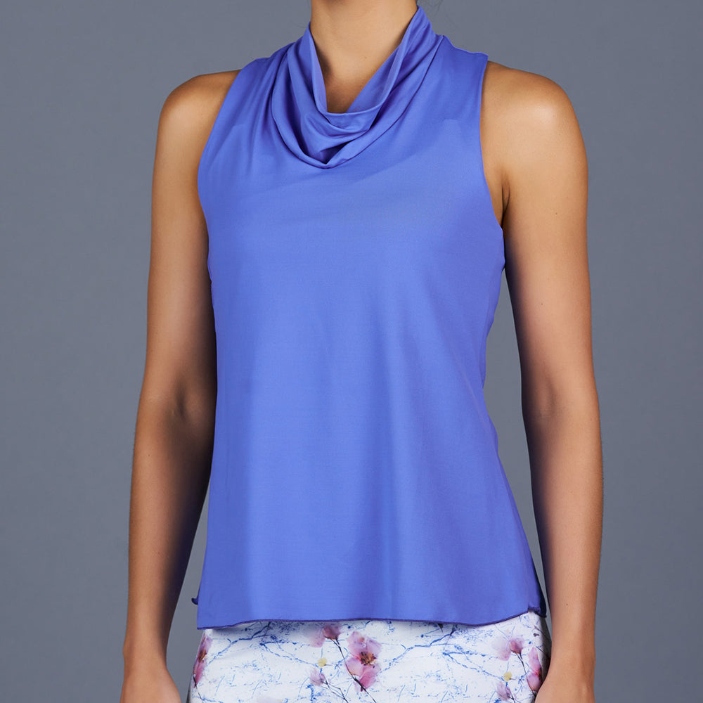 Spring Marble Cowl-neck Racerback Top (blue)