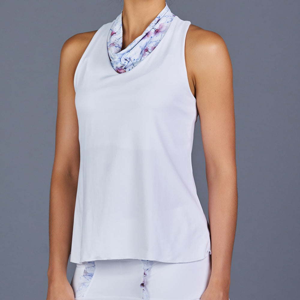 Spring Marble Cowl-neck Racerback Top (White)