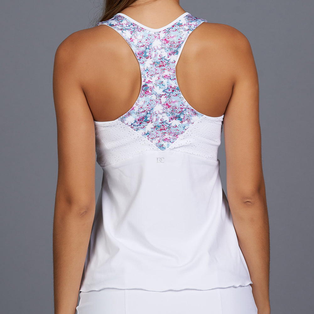 Shabby Chic Racerback Top (white/print)
