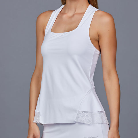 Luna White Sleeve-less Collar Top
